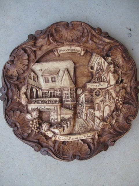 Vintage Hand Carved Wooden Plate Wood Wall Plaque