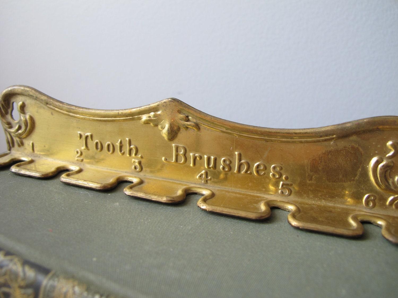Vintage Brass Toothbrush Holder Rare Antique Brass Stamping