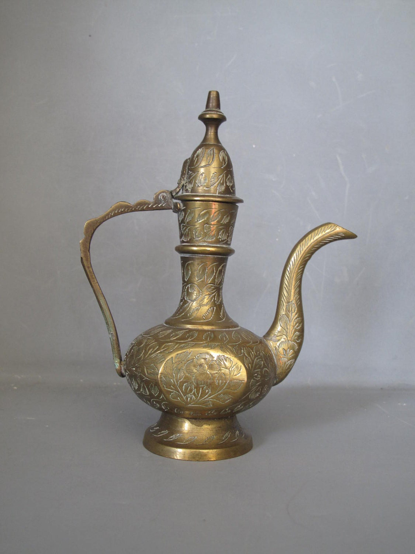 Vintage Miniature Brass Teapot Moroccan Style Decorative