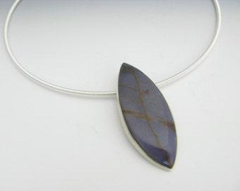 leaf pendant - burro creek agate - sterling silver