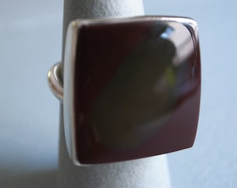 square stone ring - sterling silver