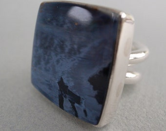 pietersite square ring - heavy sterling band