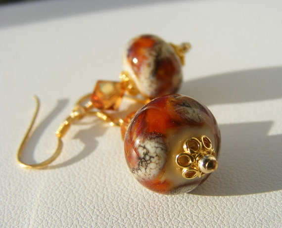 Butterscotch OOAK Lampwork & Gold Earrings