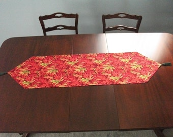 Red Maple Leaf Autumn Table Runner - no tassels