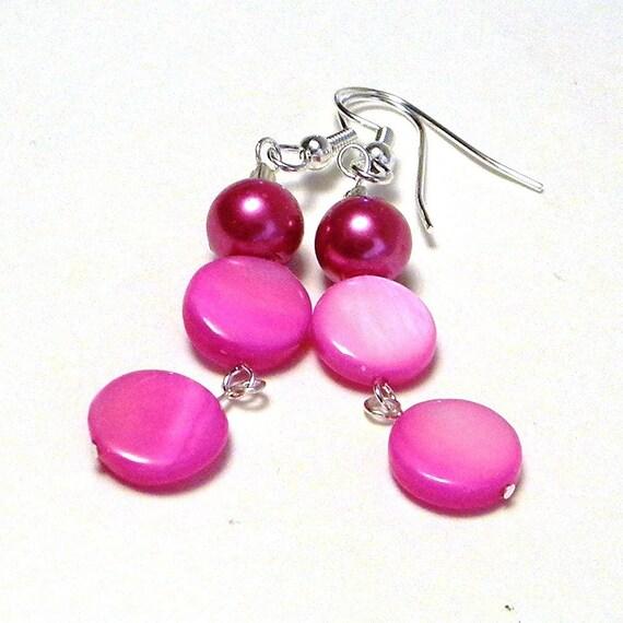 Beaded Earrings, Pink Beaded Earrings, Glass Pearl Earrings, Pink Shell Earrings, Dangle Earrings, Women's Earrings, Women's Jewelry