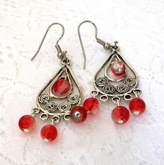 Beaded Earrings, Red Bead Earrings, Dangle Earrings, Chandelier Earrings, Fashion Earrings, Red Glass Bead Earrings,  Women's Earrings
