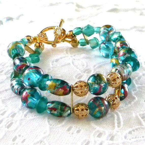 Beaded Bracelet, Teal Bracelet, Teal Beaded Bracelet, Glass Bead Bracelet, Women's Bracelet, Beaded Jewelry, Women's Jewelry