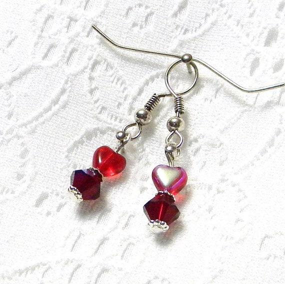 Beaded Earrings, Red Beaded Earrings, Dangle Earrings, Fashion Earrings, Women's Earrings, Women's Jewelry