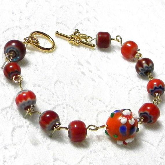 Orange Beaded Bracelet, Orange Chain Bracelet, Beaded Orange Bracelet, Millefiori Bead Bracelet, Millefiori Bead Jewelry
