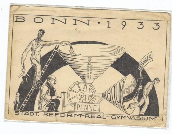 Bonn 1933 Propaganda postcard a politcal cartoon in German