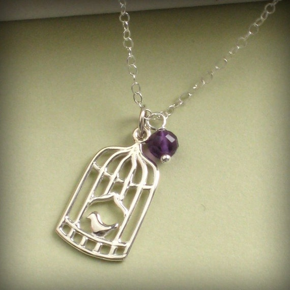 Little Bird Necklace - Genuine Birthstone and Bird Cage in Sterling Silver