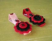 Ladybugs Little Felt Flower Hair Clips - Set of 2 - Red Ladybug Mix
