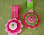 Little Felt Flower Hair Clips - Set of 2 - Pink Ladybug Mix