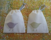Drawstring Pouches, Gift or Jewelry Bags - Set of 2 Sachets - Happy Birds