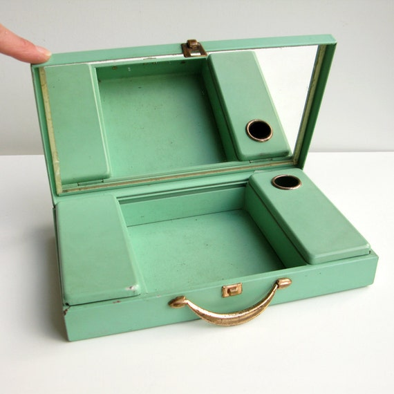 Mint-green, metal travel case. Vintage toilette companion or cosmetics box.