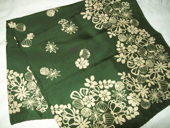 Lovely dark green vintage scarf by Uena