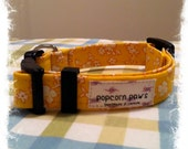 Handmade Adjustable Pet Collar- Size SMALL-Yellow Floral