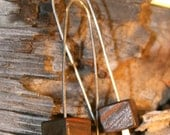 Sterling silver and wood earrings