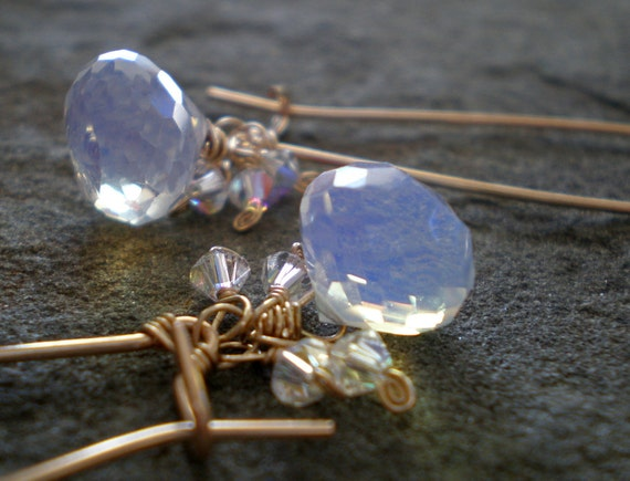 Moonglow Briolette Earrings in Opalite and 14k Goldfill