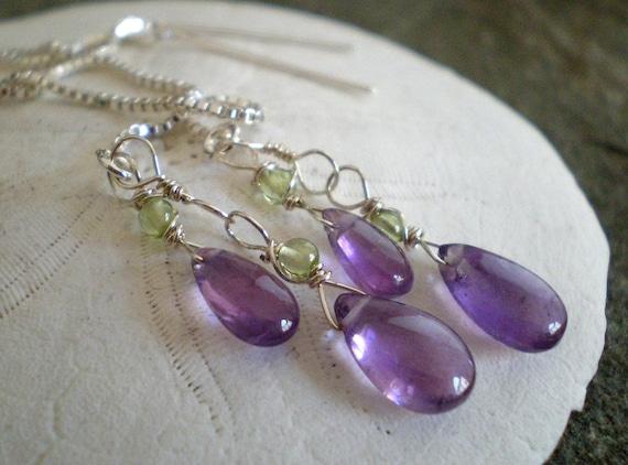 Grape Amethyst Teardrop Ear Threads in Sterling silver with Peridot