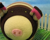 Brown and Pink stripes Sock Pig
