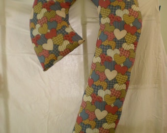 Heart Print on Unique 4-Foot Candy Cane-Shaped Body Pillow for Children