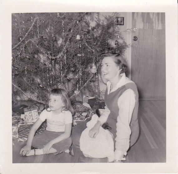 Vintage Photograph,   Mother and Daughter under Christmas tree