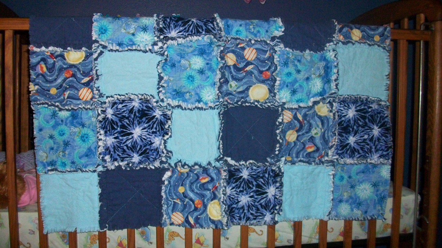 Boy 39 s blue space themed flannel crib sized rag quilt for Spaceship quilt
