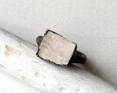 Copper Ring Tourmaline Gem Stone Pale Cream White Artisan Raw Handmade