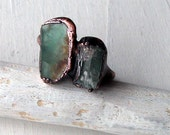 Copper Ring Tourmaline Fluorite Gem Stone Blue Green Raw Gem Organic Oxidized Handmade