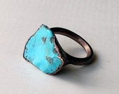 Copper Ring Turquoise December Birthstone Handmade Ring Simple Raw Modern Organic Robins Egg Blue