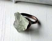 Copper Ring Amethyst Prasiolite Mint Celadon Gem Stone Crystal Artisan Handmade
