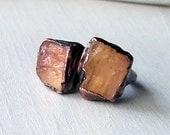 Copper Ring Imperial Topaz Crystal Pumpkin Pink Grapefruit Raw Artisan Handmade