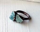 Copper Aquamarine Ring March Birthstone Crystal Frost Icy Sky Blue Artisan Handmade