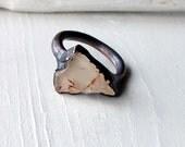Copper Ring Topaz Crystal Cream Nougat Gem Stone Natural Raw Patina Artisan