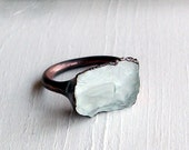 Copper Ring Aquamarine Ring Pale Sky Blue Organic Raw Artisan Handmade