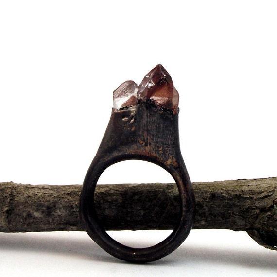 Copper Ring Hemitite Red Quartz Crystal Ice Natural Artisan