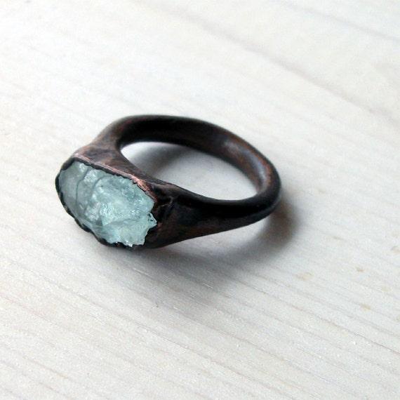 Copper Aquamarine Ring Crystal Icy Sky Blue Artisan Handmade