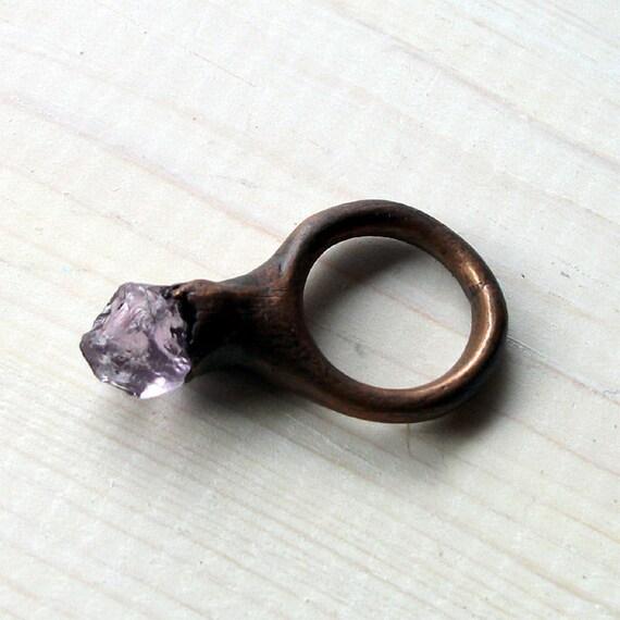 Copper Ring Amethyst Purple Lilac Phlox Violet Raw Gem Stone Crystal Artisan Handmade