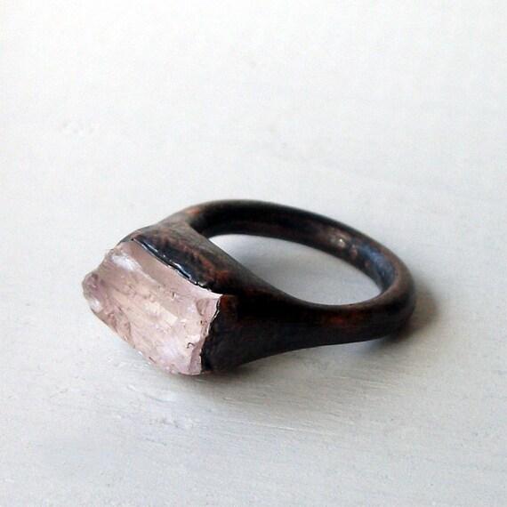Kunzite Copper Ring Pink Gem Stone Artisan Raw Gem Organic Artisan Handmade