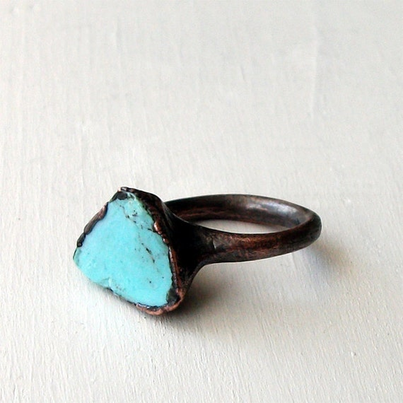 Copper Ring Turquoise December Birthstone Handmade Ring Simple Raw Modern Organic Robins Egg Blue