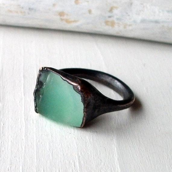 Copper Chrysoprase Ring Emerald Pale Caribbean Green Handmade Organic Raw Modern