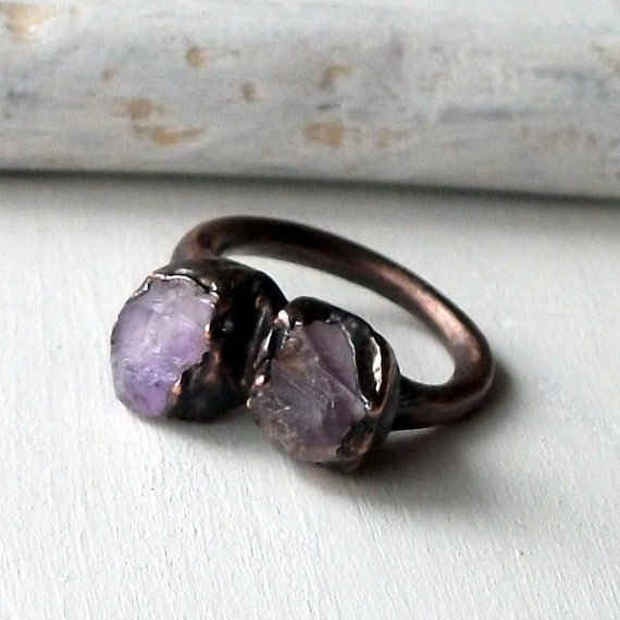 Copper Ring Rose de Amethyst Purple Violet Lilac Raw Gem February Birthstone Artisan Handmade