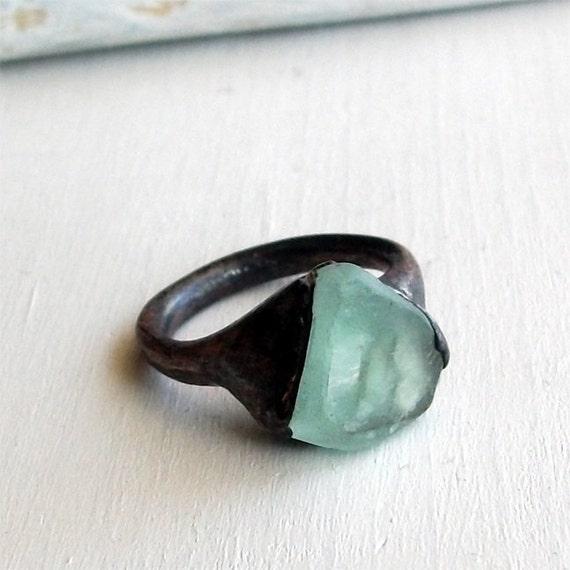 Copper Ring Fluorite Gem Stone Minty Sea Blue Green Raw Gem Organic Oxidized Handmade