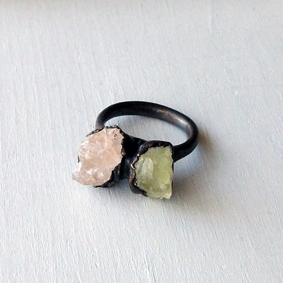 Copper Ring Heliodor Morganite Sorbet Pastel Crystal Pink Grapefruit Citrus Sorbet Raw Artisan Handmade