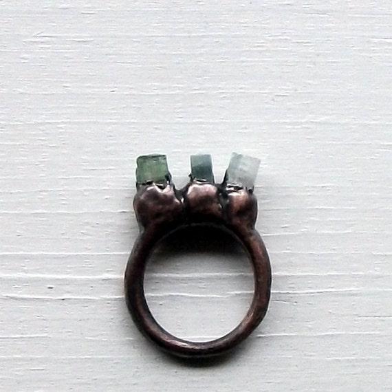 Copper Ring Tourmaline Ring Mint Pale Blue Green Gem Stone Artisan Handmade