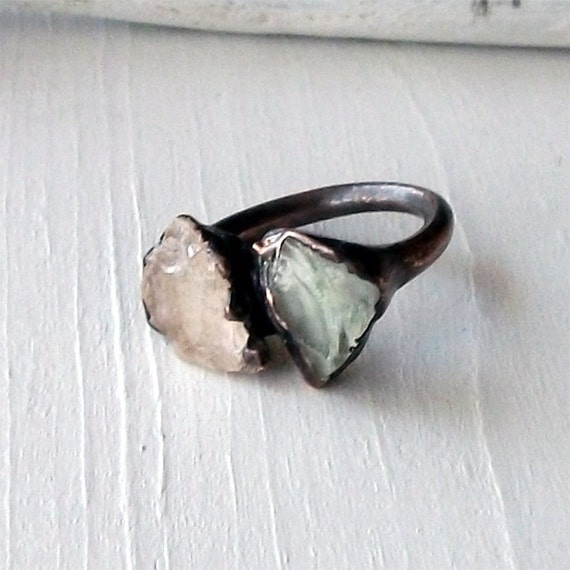 Morganite Prasiolite Copper Ring Peach Mint Gem Stone Artisan Raw Gem Organic Oxidized