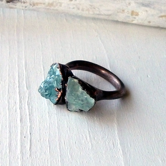 Copper Aquamarine Ring March Birthstone Crystal Frost Icy Sky Blue Artisan Handmade