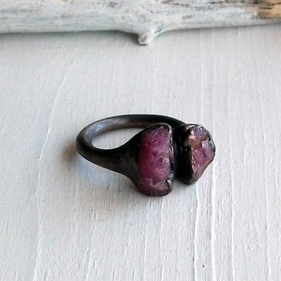 Ruby Copper Ring Purple Red Violet Magenta Pink July Birthstone Raw Gem Stone Artisan Handmade