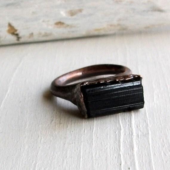 Copper Ring Tourmaline Gem Stone Black Facet Artisan Raw Gem Organic Oxidized